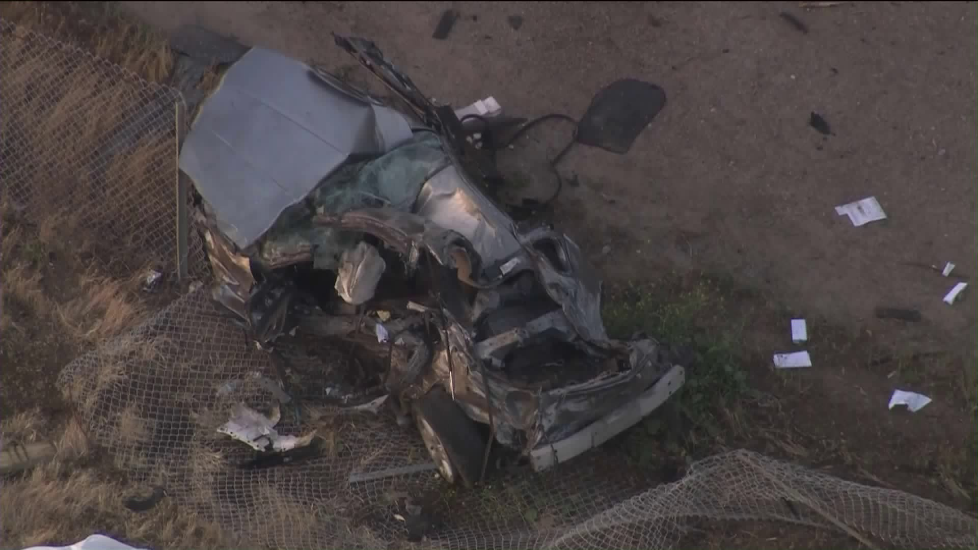 Authorities investigate a crash that left two people dead along Pacific Coast Highway near Point Mugu in Ventura County on May 17, 2019 (Credit: KTLA)