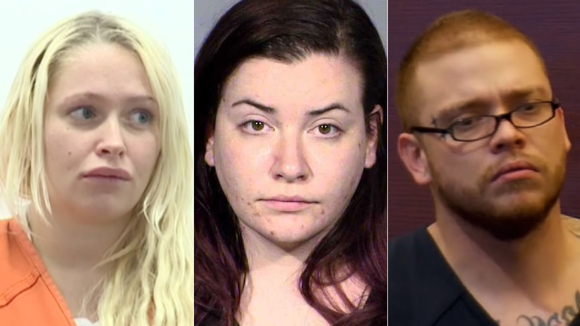 From left: Kelsey Turner is seen in a San Joaquin County courtroom on April 9, 2019, in an image from KTXL; Diana Pena is seen in an booking photo obtained by CNN; and Jon Kennison appears in a Las Vegas courtroom on April 19, 2019, in an image from KTNV via CNN.