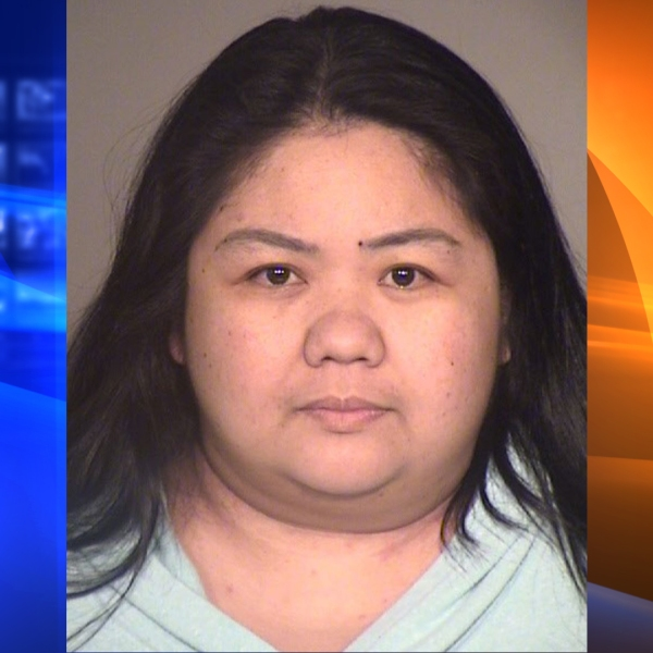 Ann Villasanta is seen in a booking photo released by the Ventura County Sheriff's Office.