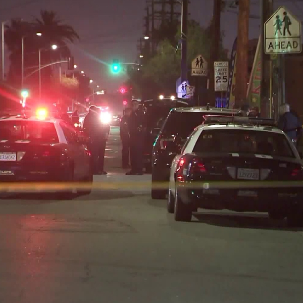 Police investigate a shooting in Watts on April 30, 2019. (Credit: KTLA)