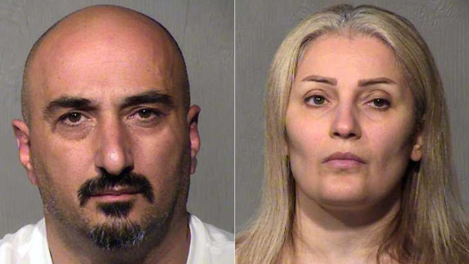 Rafid Khoshi, left, and Manal Sulaiman, right, are seen in booking photos released by Chandler police.