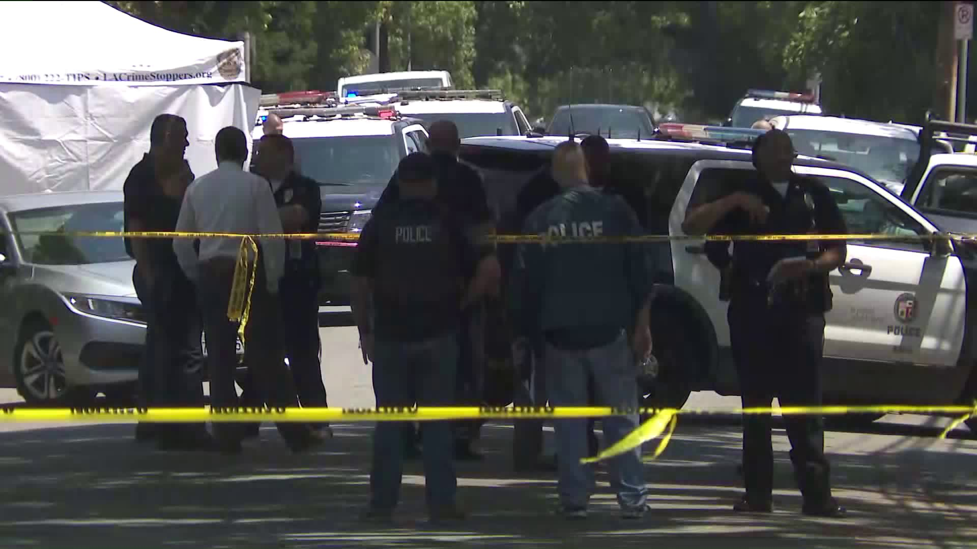 An investigation was underway following a fatal police shooting in Atwater Village on June 6, 2019. (Credit: KTLA)