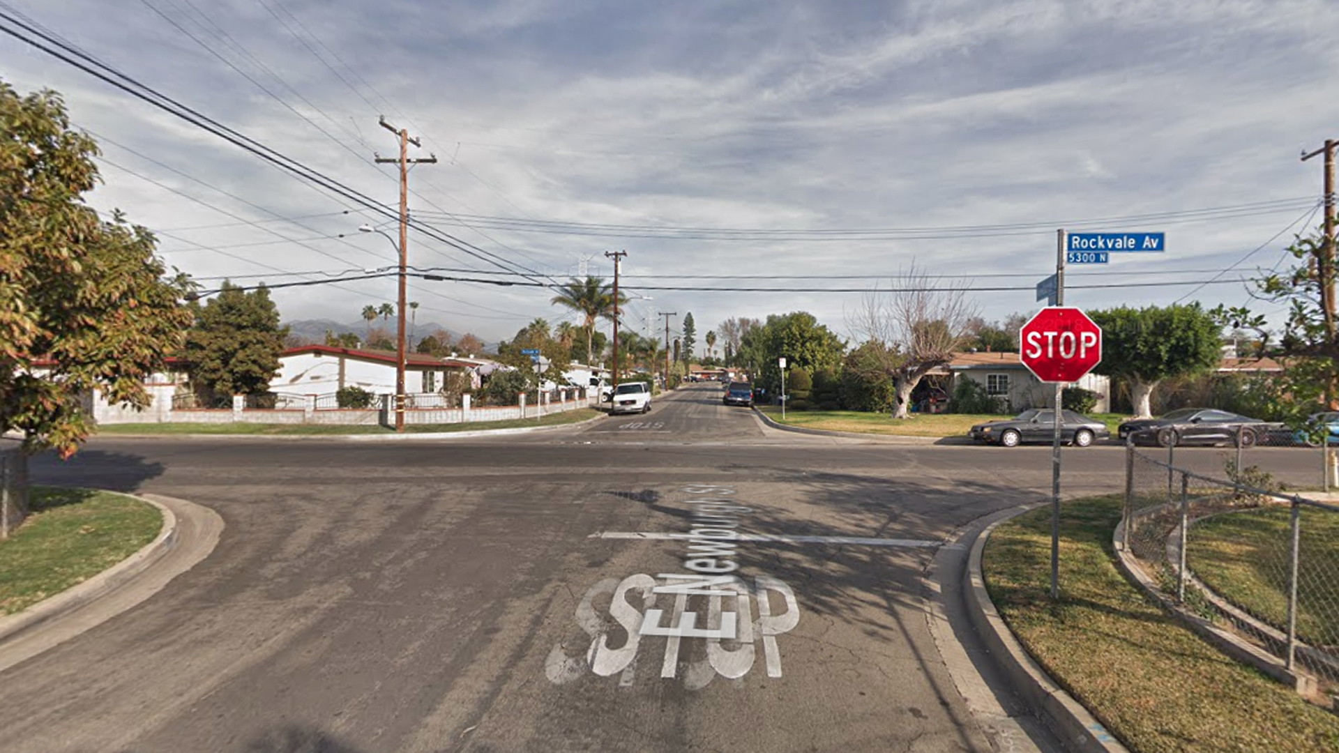 The intersection of Newburgh Street and Rockvale Avenue in an unincorporated county area near Azusa, as pictured in a Google Street View Image in February of 2018.