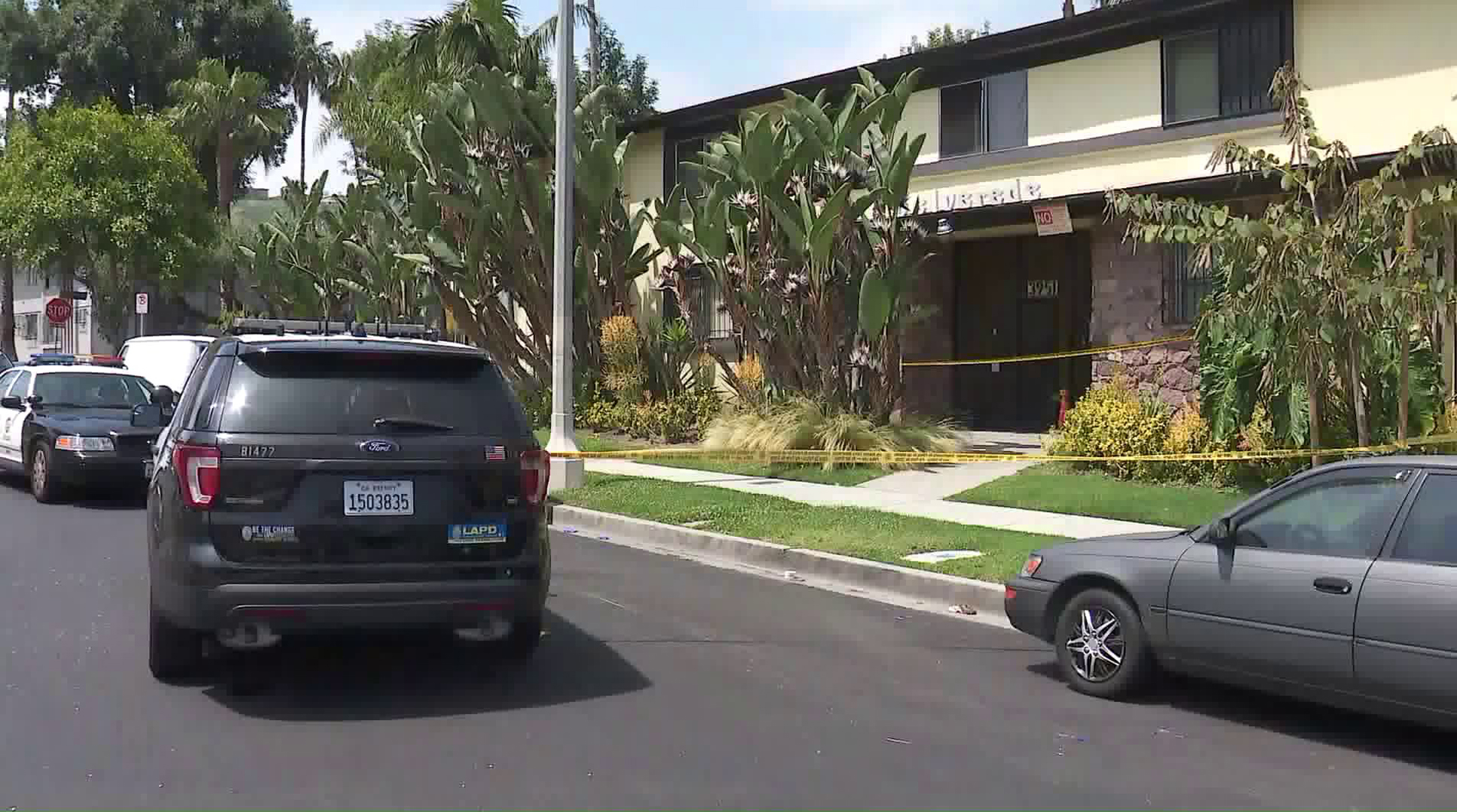 LAPD officers investigate a homicide in Baldwin Hills on June 6, 2019. (Credit: KTLA)