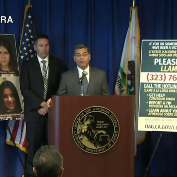 California Attorney General Xavier Becerra speaks during a news conference about La Luz del Mundo on June 6, 2019. (Credit KCRA)