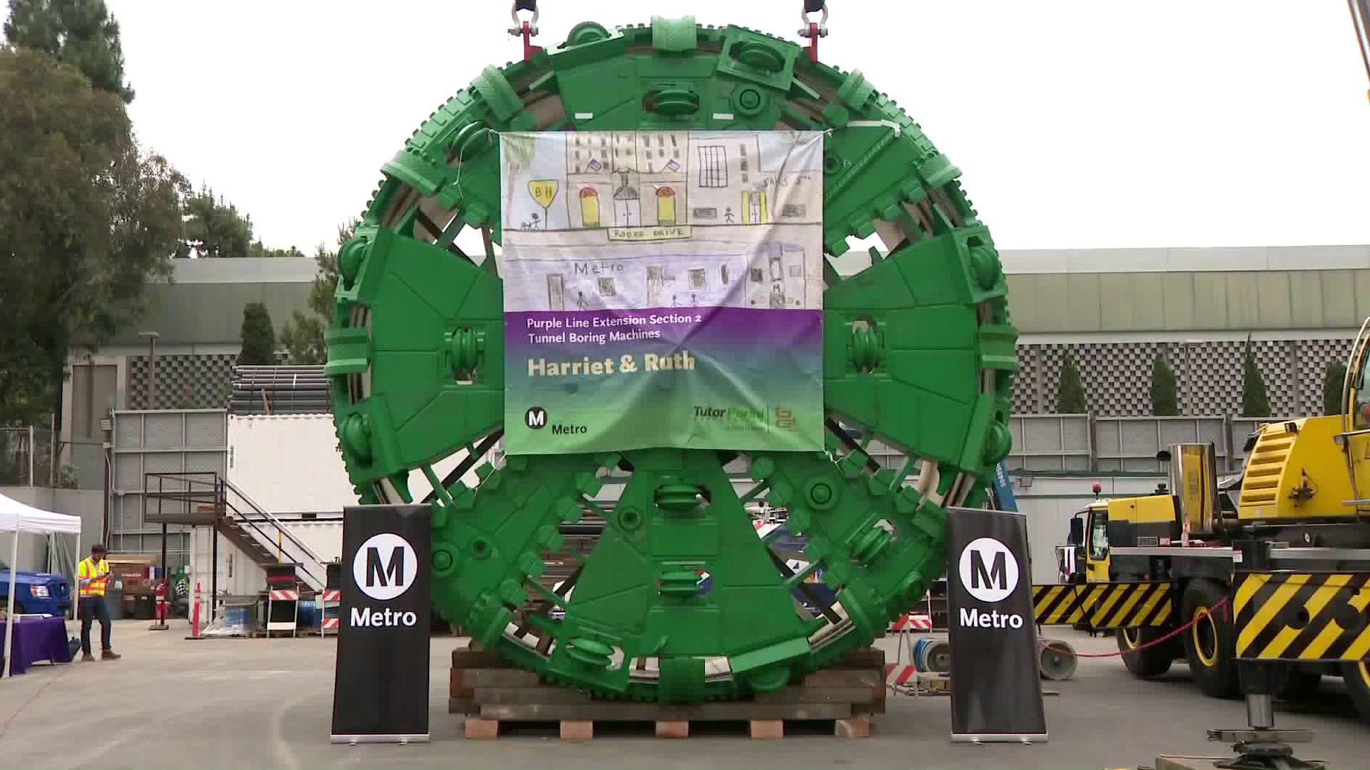 Metro officials unveiled two new Tunnel Boring Machines for the Purple Line extension project on June 17, 2019.(Credit: KTLA)