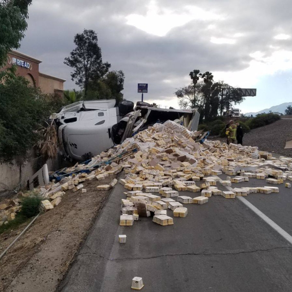 A big rig crashed on the 10 Freeway in Banning, spilling 40,000 pounds of vegetable spread onto the roadway on June 21, 2019. (Credit: California Highway Patrol)
