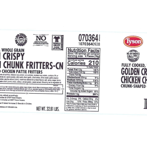 """The label for Tyson's """"Fully Cooked, Whole Grain Golden Crispy Chicken Chunk Fritters"""" appears in an image released by the company in June 2019."""