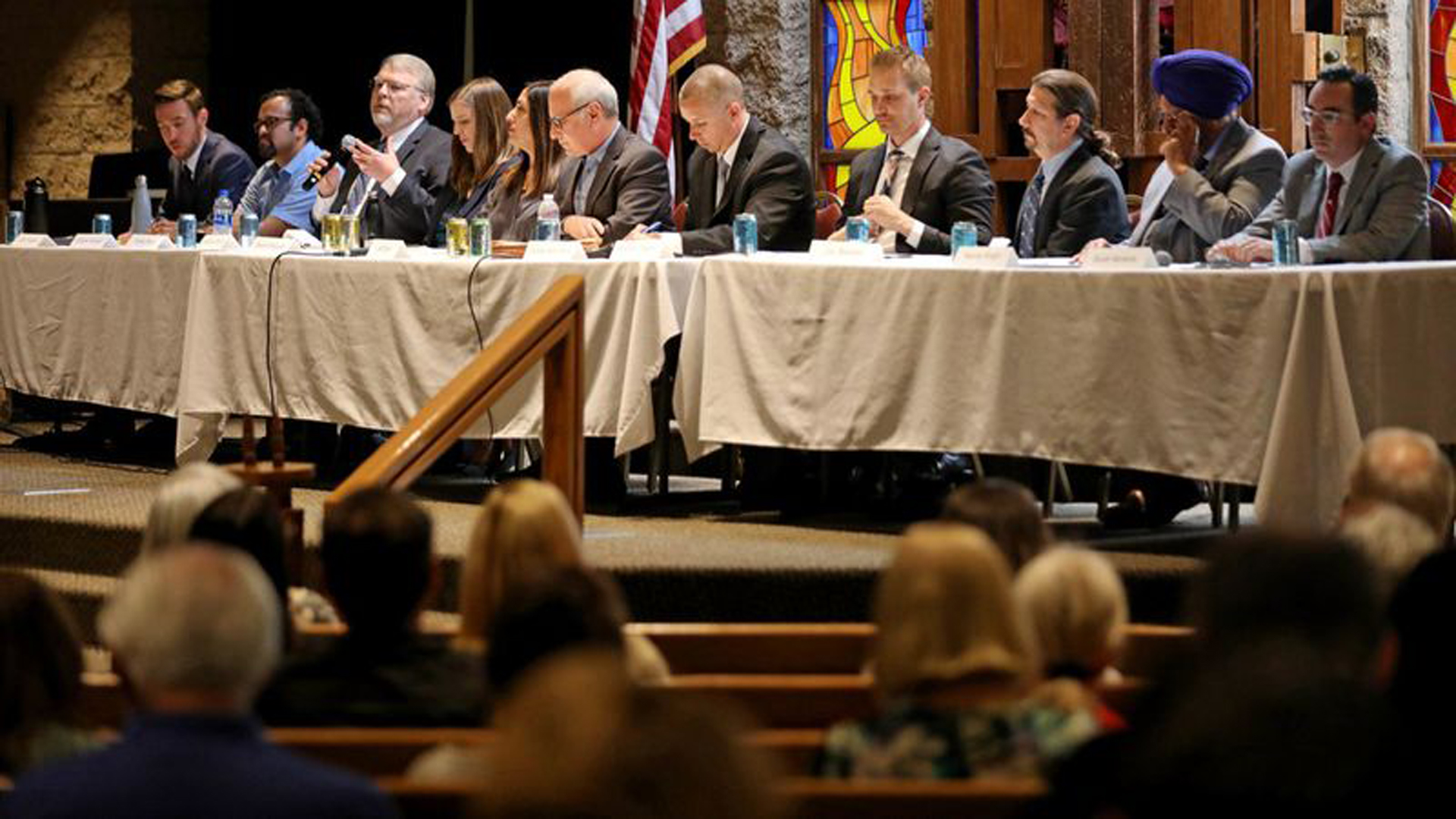 L.A. City Council District 12 candidates at a forum in April. (Credit: Gary Coronado / Los Angeles Times)