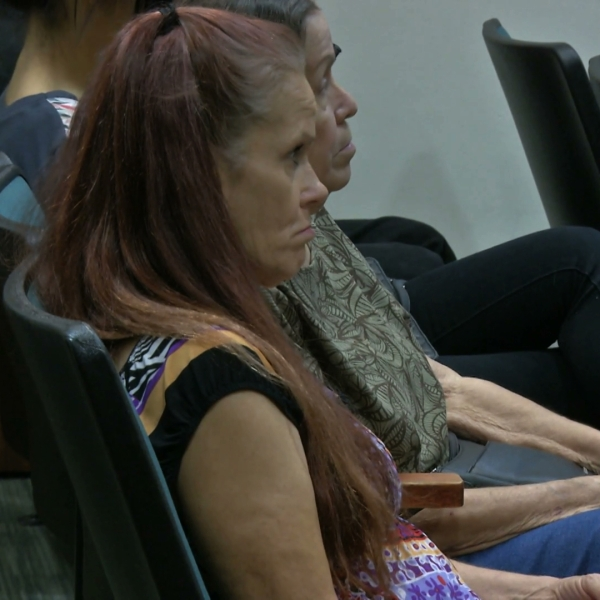 Deborah Culwell, foreground, appears for her arraignment in an Indio courtroom on June 18, 2019. (Credit: KMIR)