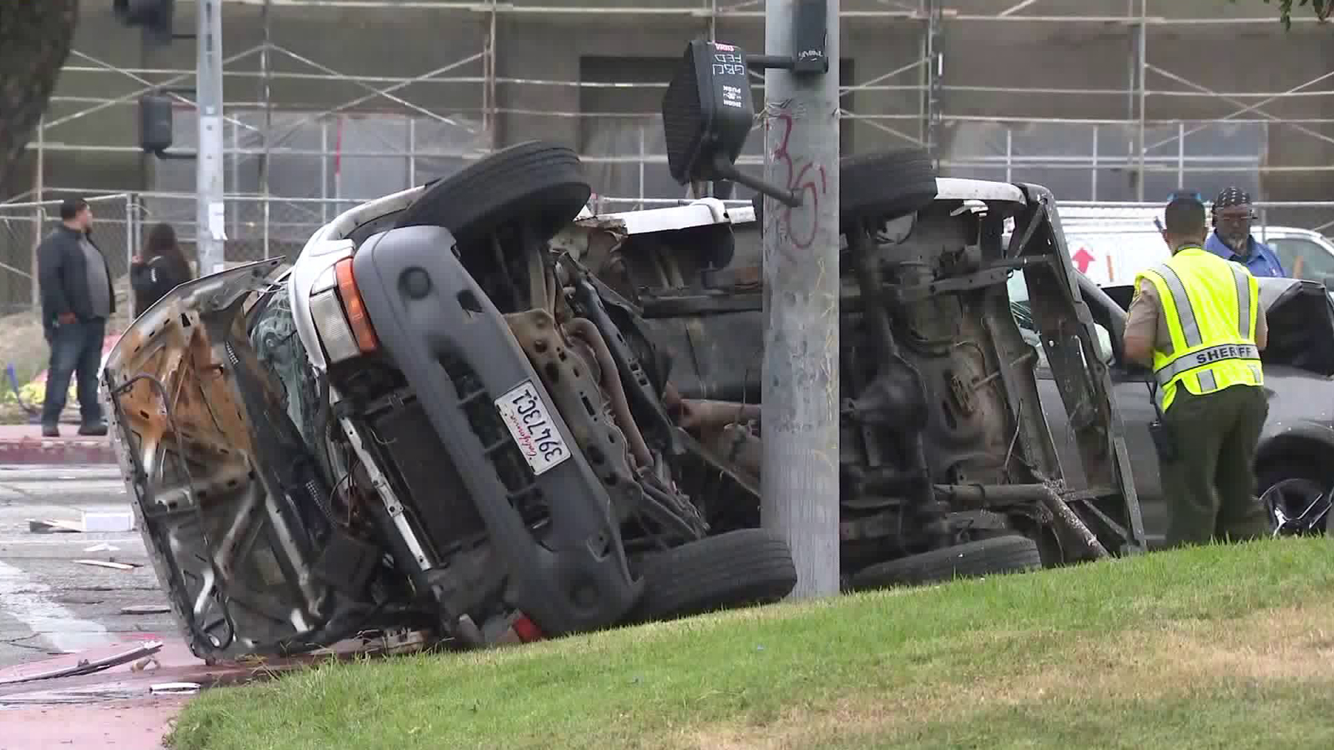 A vehicle involved in a pursuit crash is shown at the scene in Compton on June 24, 2019. (Credit: KTLA)