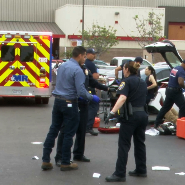 Authorities respond to the scene where a gunman allegedly shot his ex-girlfriend and her current boyfriend outside a Costco in Chula Vista on June 17, 2019. (Credit: OnScene.TV)