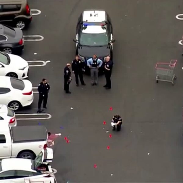 Police respond to investigate a shooting outside a Costco in Chula Vista on June 17, 2019. (Credit: KSWB)