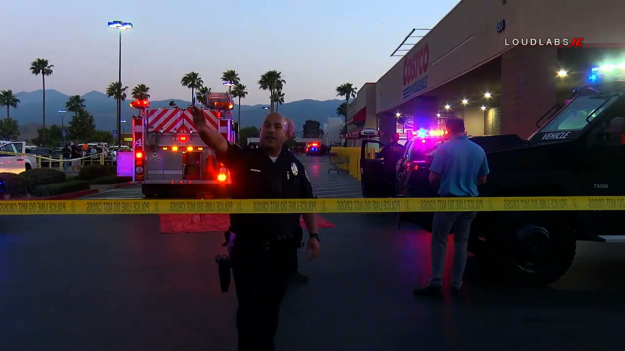 Police investigate after a shooting broke out at the Costco in Corona on June 14, 2019. (Credit: LoudLabs)