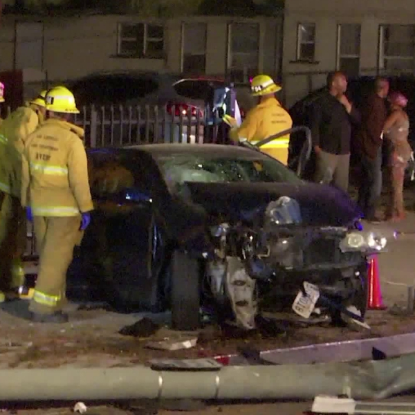 Emergency crews investigate a suspected DUI crash in Hyde Park on June 4, 2019. (Credit: OnScene.TV)