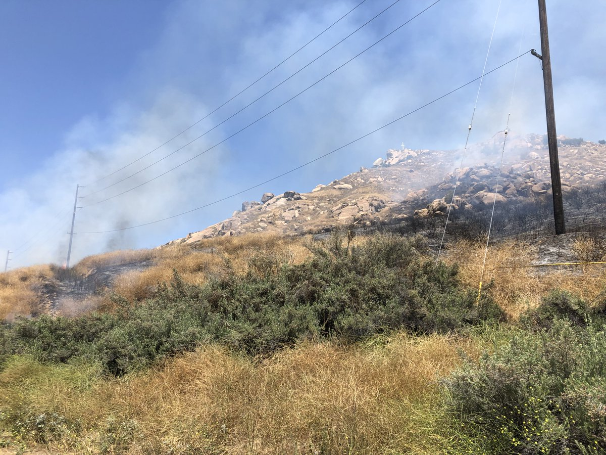 Smoke rises from a small brush fire burning at Mt. Rubidoux in Riverside on June 8, 2019. (Credit: Riverside Police Department)