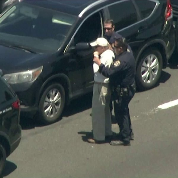 A driver was taken into custody in Sherman Oaks following a pursuit on June 12, 2019. (Credit: KTLA)