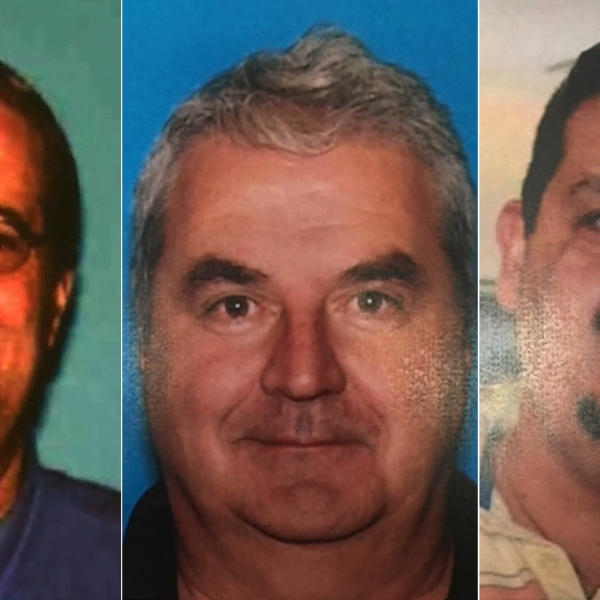 From left: Steven Leet, Brian Light and Xavier Souto are seen in images displayed during a press conference held by the Morgan Hills Police Department on June 26, 2019.
