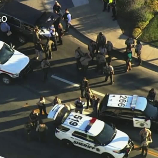 Authorities respond to a fatal shooting at a Ford dealership in Morgan Hill on June 25, 2019. (Credit: KGO via CNN)