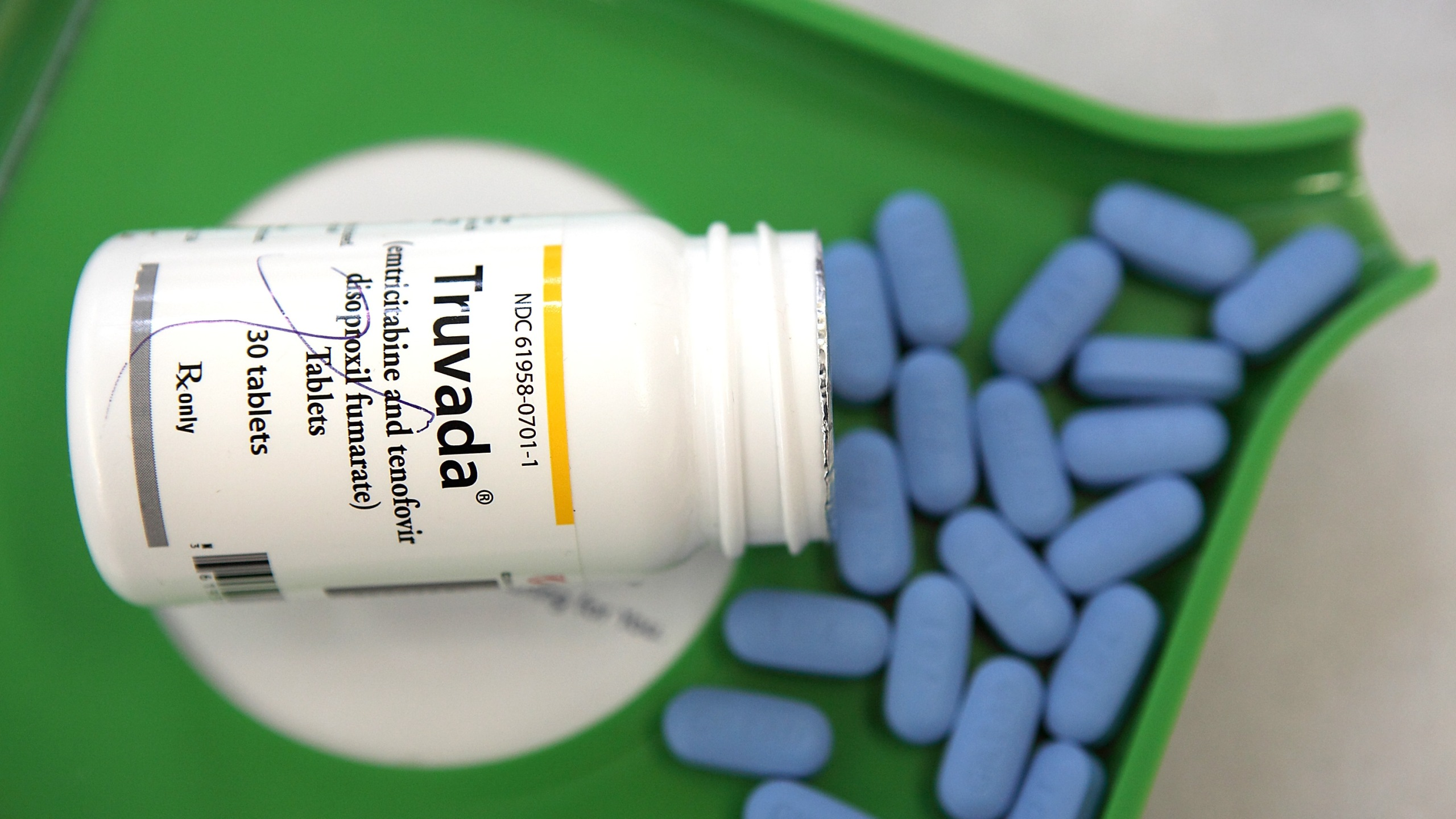 A bottle of antiretroviral drug Truvada is displayed at Jack's Pharmacy in San Anselmo, California on Nov. 23, 2010. (Credit: Justin Sullivan/Getty Images