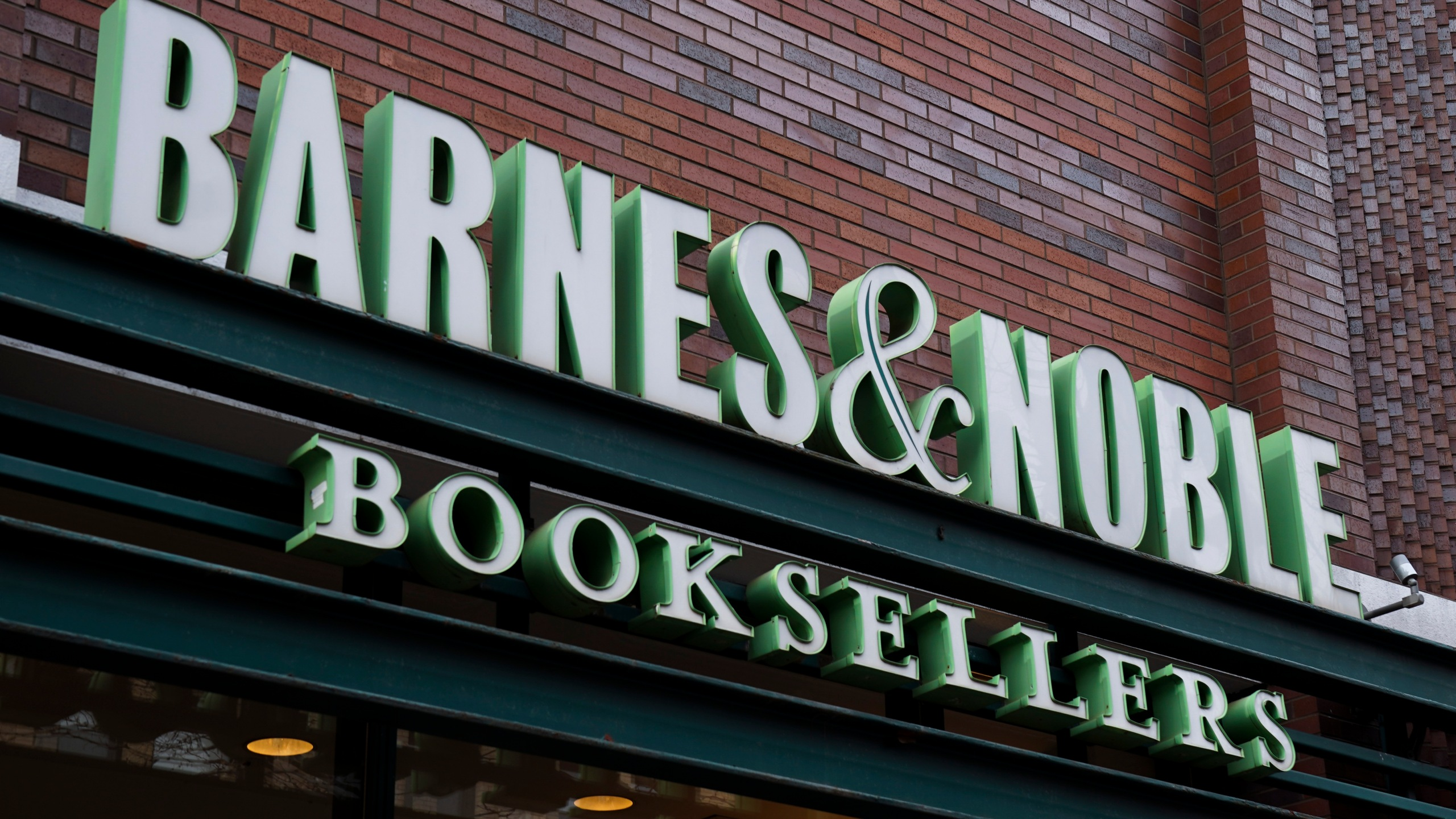 Signage for a Barnes & Noble bookstore stands above the entrance, Jan. 10, 2019, in the Brooklyn borough of New York City. (Credit: Drew Angerer/Getty Images)