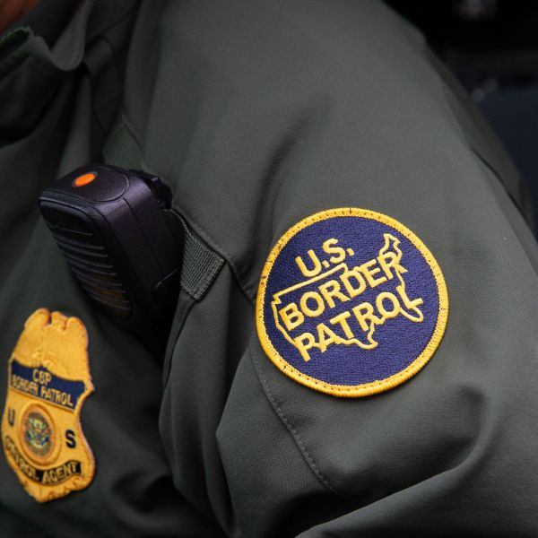 This photo shows a US Border Patrol patch on a border agent's uniform in McAllen, Texas, on January 15, 2019. (Credit: SUZANNE CORDEIRO/AFP/Getty Images)