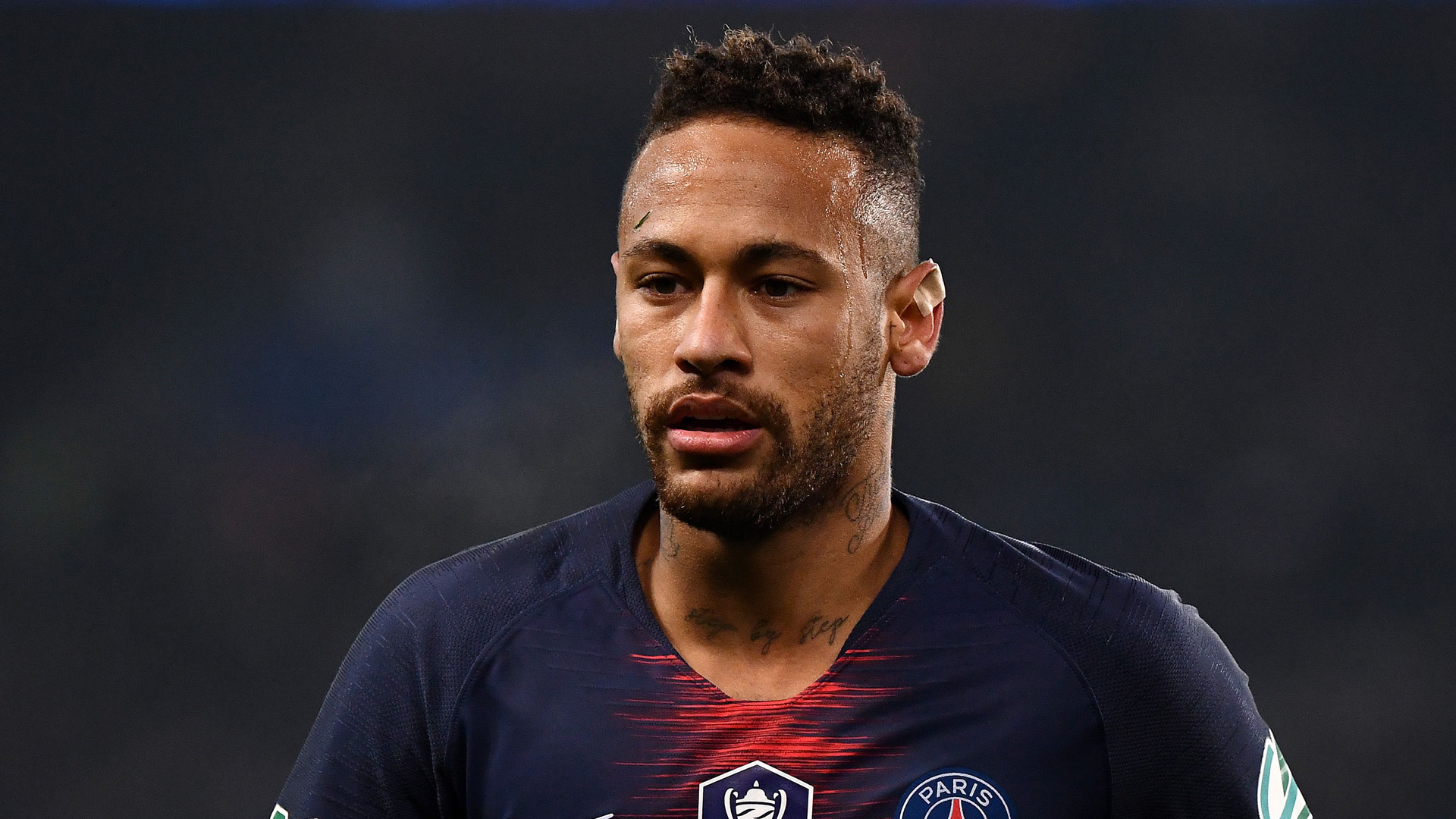 Paris Saint-Germain's Brazilian forward Neymar looks on during the French Cup round of 32 football match between Paris Saint-Germain (PSG) and Strasbourg (RCS) at the Parc des Princes stadium in Paris on January 23, 2019. (Credit: FRANCK FIFE/AFP/Getty Images)