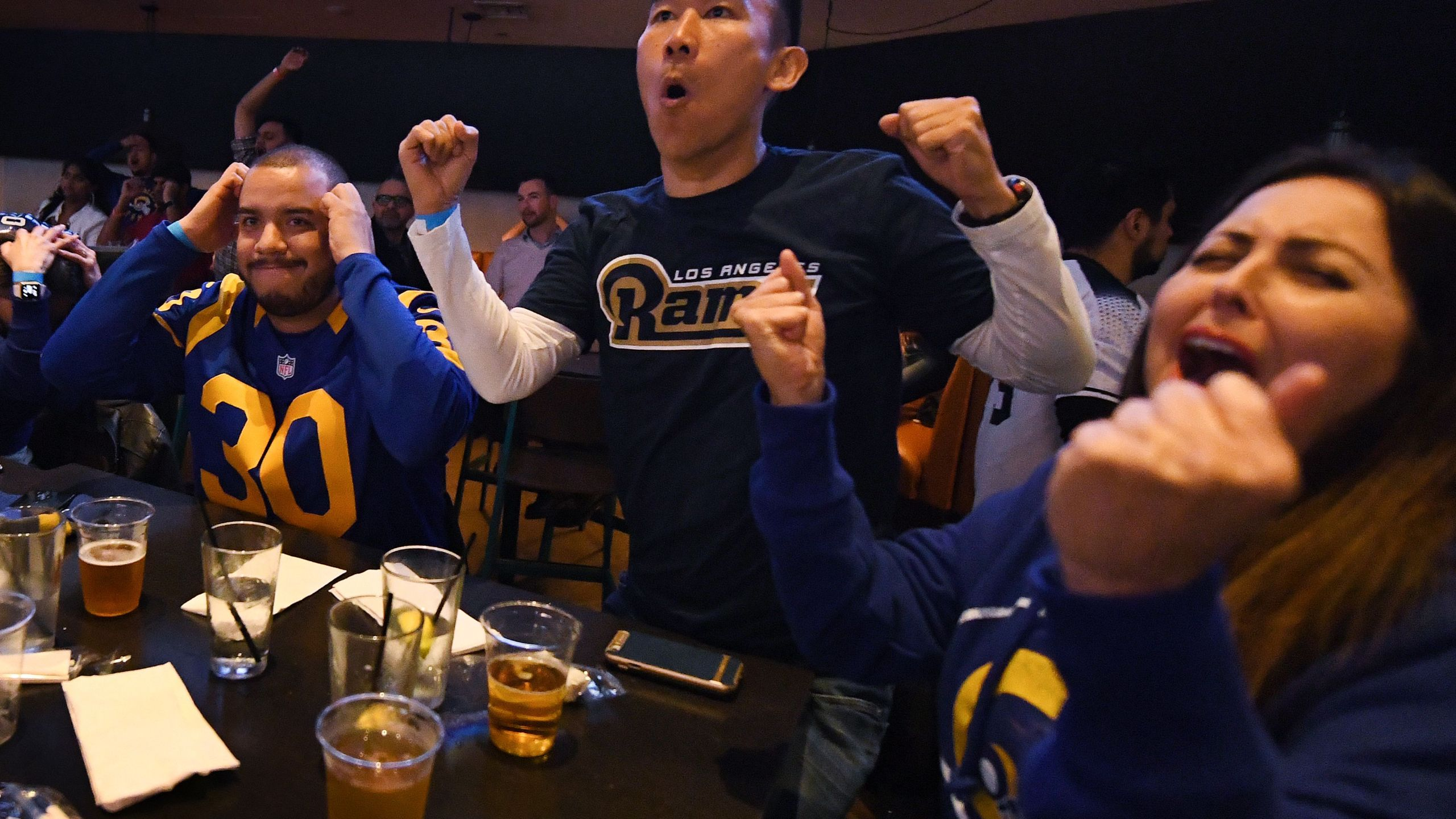 Los Angeles Rams fans reacts as they watch their team play against the New England Patriots during the Super Bowl LIII in Los Angeles on Feb. 3, 2019. (Credit: Mark RALSTON/AFP/Getty Images)