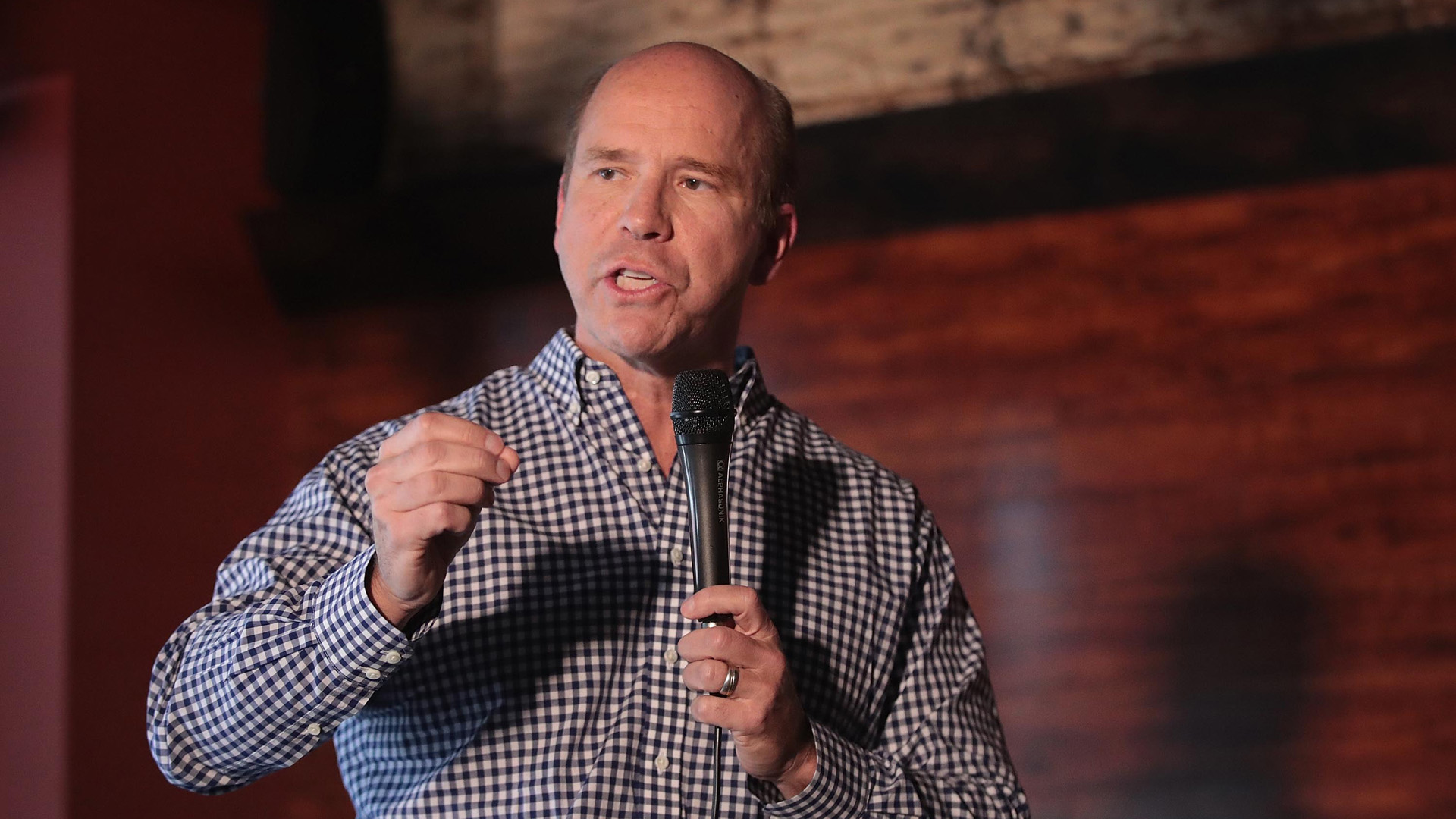 Former Maryland congressman John Delaney speaks to guests at the Marion County Democrats soup luncheon at the Peace Tree Brewing Company on February 17, 2019 in Knoxville, Iowa. (Credit: Scott Olson/Getty Images)