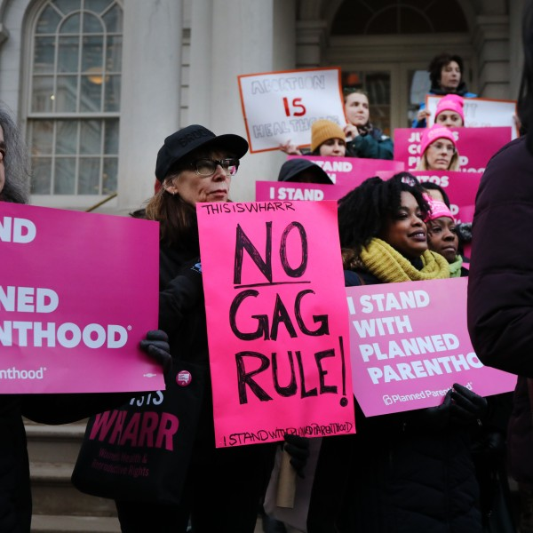Activists, politicians and others associated with Planned Parenthood gather for a news conference and demonstration at City Hall against the Trump administrations title X rule change on Feb. 25, 2019, in New York City. (Credit: Spencer Platt/Getty Images)