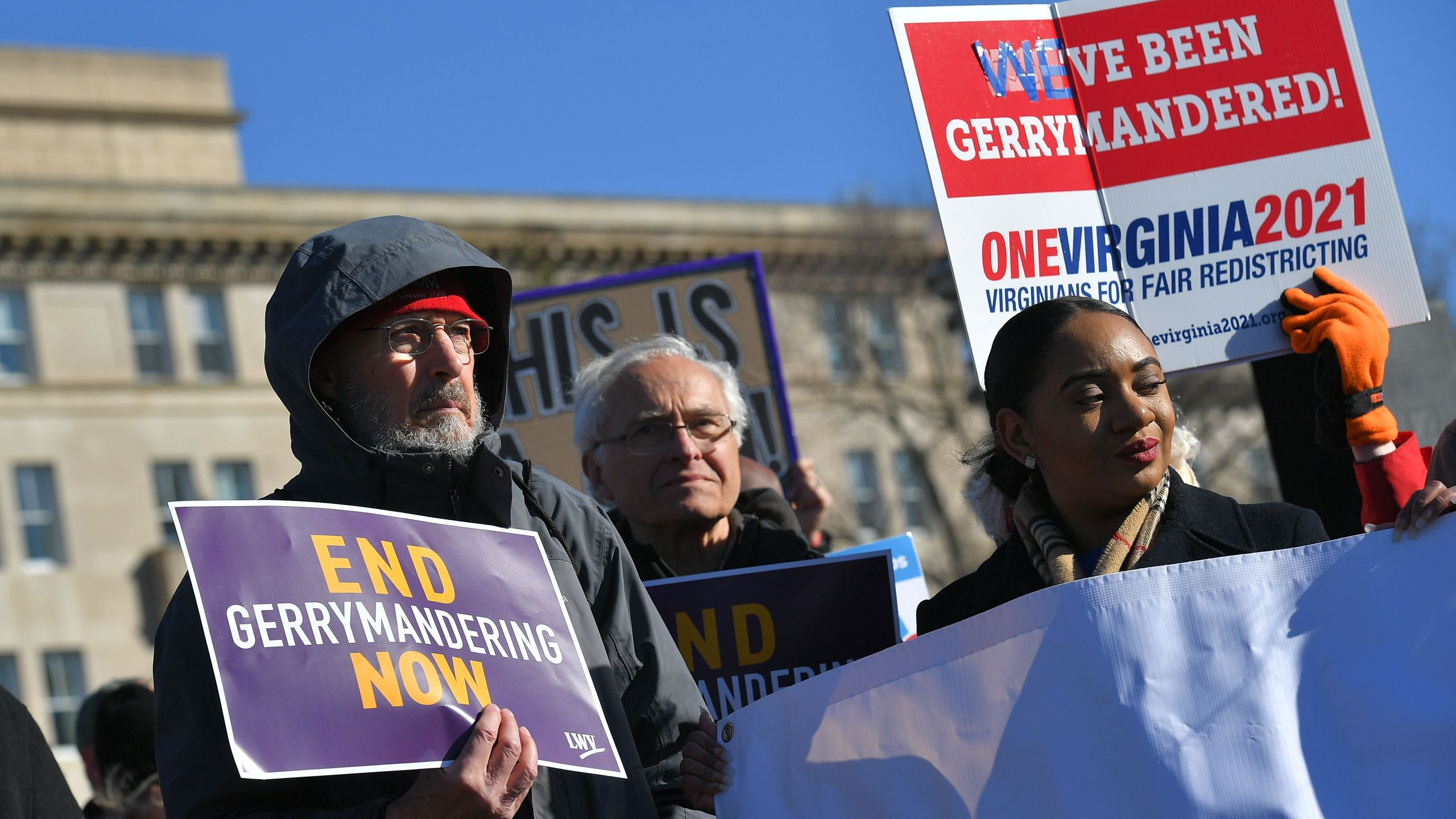 People gather during a rally to coincide with the Supreme Court hearings on the redistricting cases in Maryland and North Carolina, in front of the US Supreme Court in Washington, DC on March 26, 2019. (Credit: MANDEL NGAN/AFP/Getty Images)