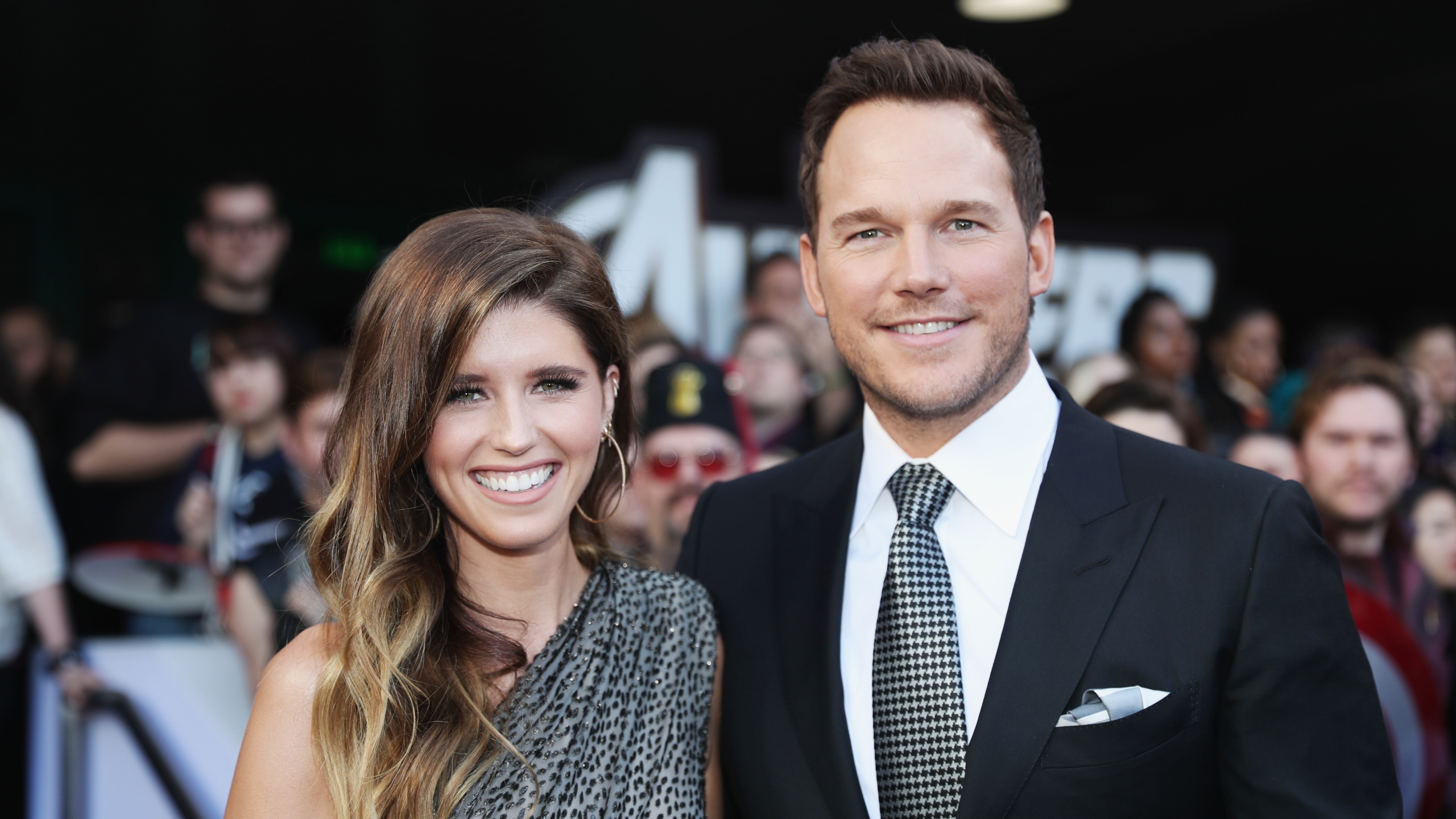 "Katherine Schwarzenegger and Chris Pratt attend the Los Angeles World Premiere of Marvel Studios' ""Avengers: Endgame"" at the Los Angeles Convention Center on April 23, 2019 in Los Angeles. (Credit: Rich Polk/Getty Images for Disney)"
