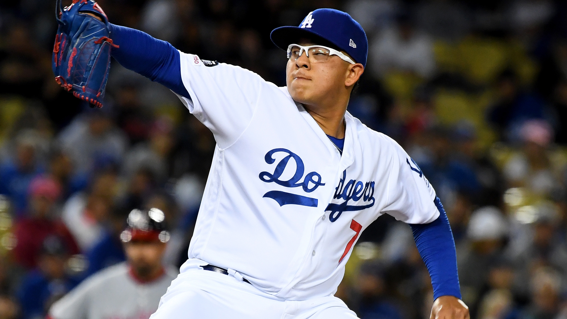 Julio Urias of the Los Angeles Dodgers is seen during a game at Dodger Stadium on May 10, 2019, in Los Angeles. (Credit: Jayne Kamin-Oncea/Getty Images)
