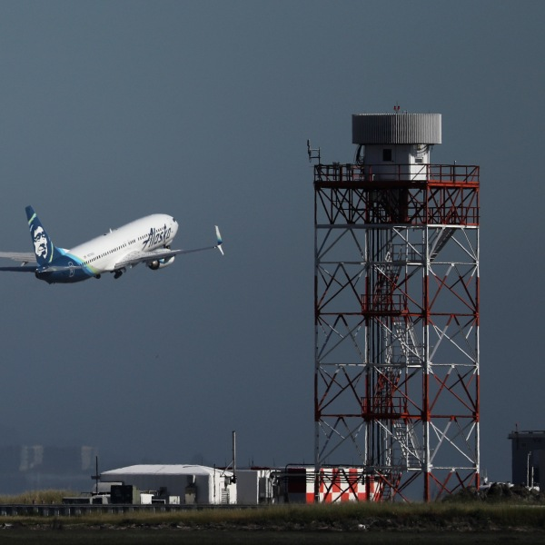 An Alaska Airlines Boeing 737s takes off from San Francisco International Airport on April 24, 2019 in San Francisco. (Credit: Justin Sullivan/Getty Images)