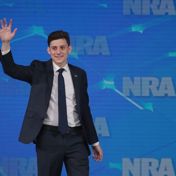 Kyle Kashuv, a Marjory Stoneman Douglas High School student speaks during the NRA-ILA Leadership Forum at the 148th NRA Annual Meetings & Exhibits on April 26, 2019, in Indianapolis, Indiana. (Credit: Scott Olson/Getty Images)