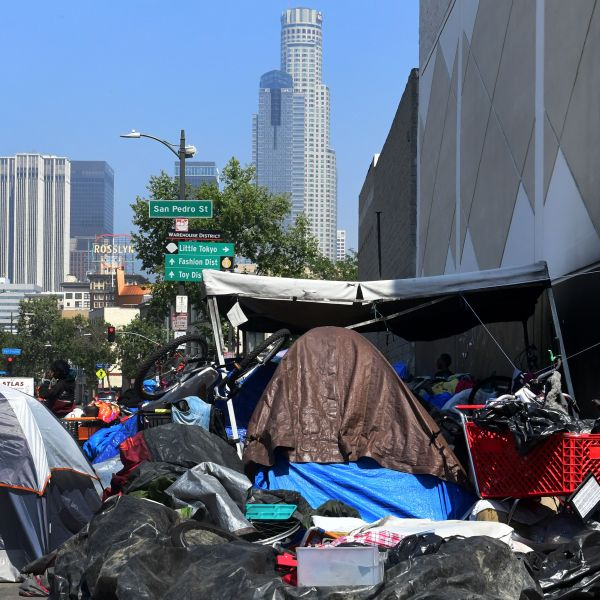 A homeless encampment is seen in downtown Los Angeles on May 30, 2019. (Credit: FREDERIC J. BROWN/AFP/Getty Images)