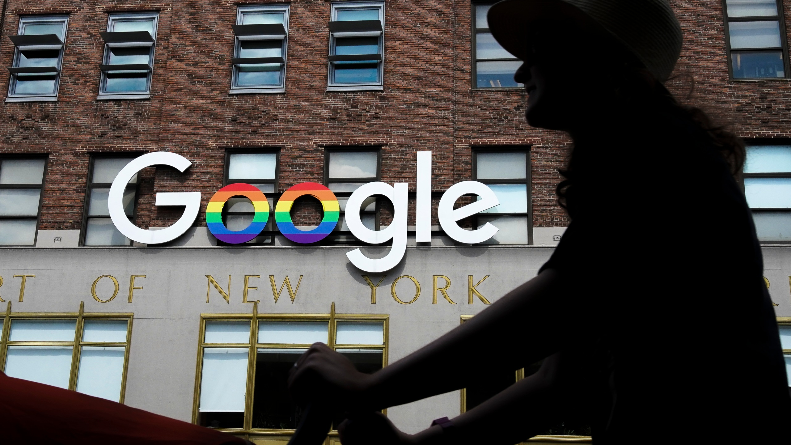 The Google logo adorns one of the company's office buildings in New York City on June 3, 2019. (Credit: Drew Angerer / Getty Images)