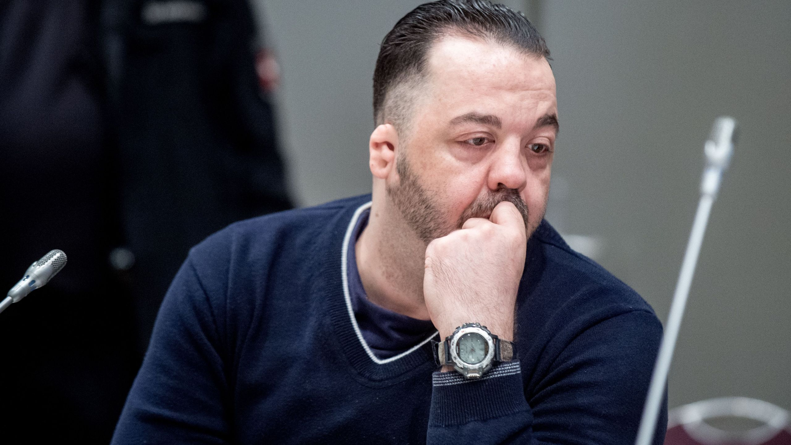 Former nurse Niels Hoegel, accused of killing more than 100 patients in his care, waits at court for his verdict at court in Oldenburg, northern Germany, on June 6, 2019. (Credit: HAUKE-CHRISTIAN DITTRICH/AFP/Getty Images)