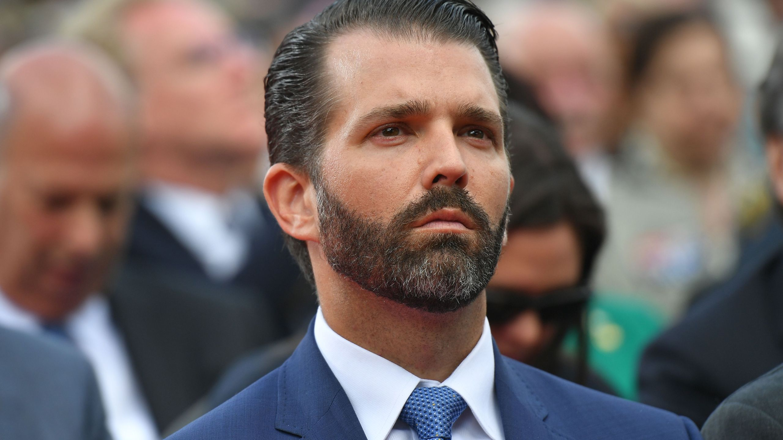 Donald Trump Jr. attends a French-U.S. ceremony at the Normandy American Cemetery and Memorial in Colleville-sur-Mer, Normandy on June 6, 2019. (Credit: MANDEL NGAN/AFP/Getty Images)