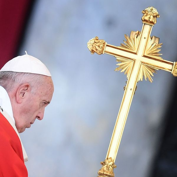 Pope Francis celebrates the Pentecost mass-vigil in Saint Peter's square at the Vatican on June 8, 2019. (Credit: Alberto Pizzoli / AFP / Getty Images)