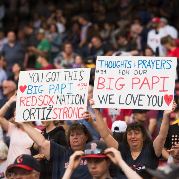 Fans hold up signs showing support for former Red Sox player David Ortiz prior to the start of the game against the Texas Rangers at Fenway Park on June 10, 2019 in Boston, Massachusetts. (Credit: Kathryn Riley /Getty Images)