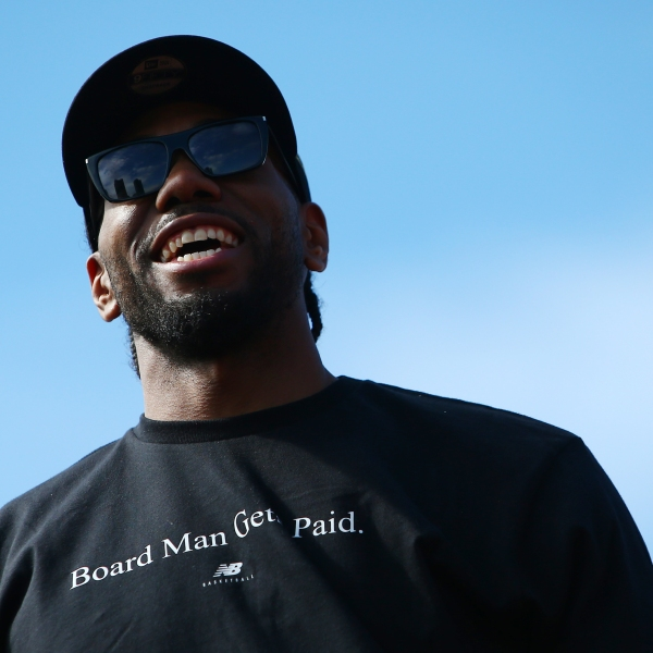 Kawhi Leonard looks on during the Toronto Raptors victory parade on June 17, 2019 in Toronto. (Credit: Vaughn Ridley/Getty Images)