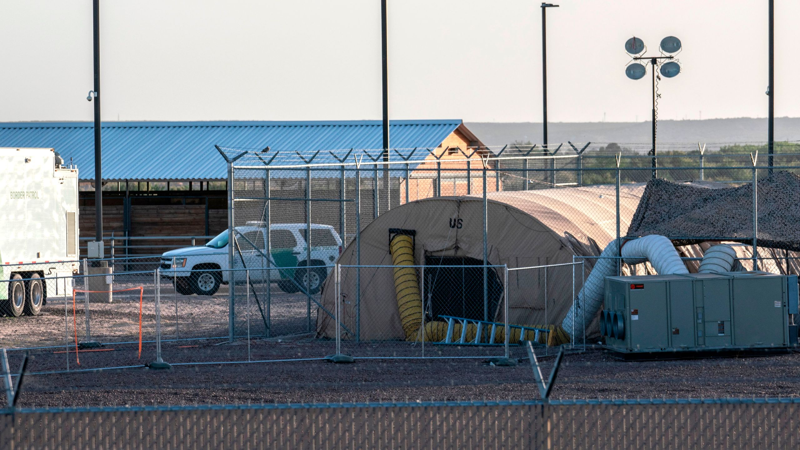A temporary facility set up to hold immigrants is pictured at a U.S. Border Patrol Station in Clint, Texas, on June 21, 2019. (Credit: PAUL RATJE/AFP/Getty Images)