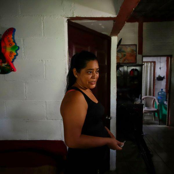 Salvadoran Rosa Ramirez speaks at her home in the populous Alta Vista neighborhood of San Martin, San Salvador municipality, El Salvador, on June 26, 2019. (Credit: Diego Lopez / AFP / Getty Images)