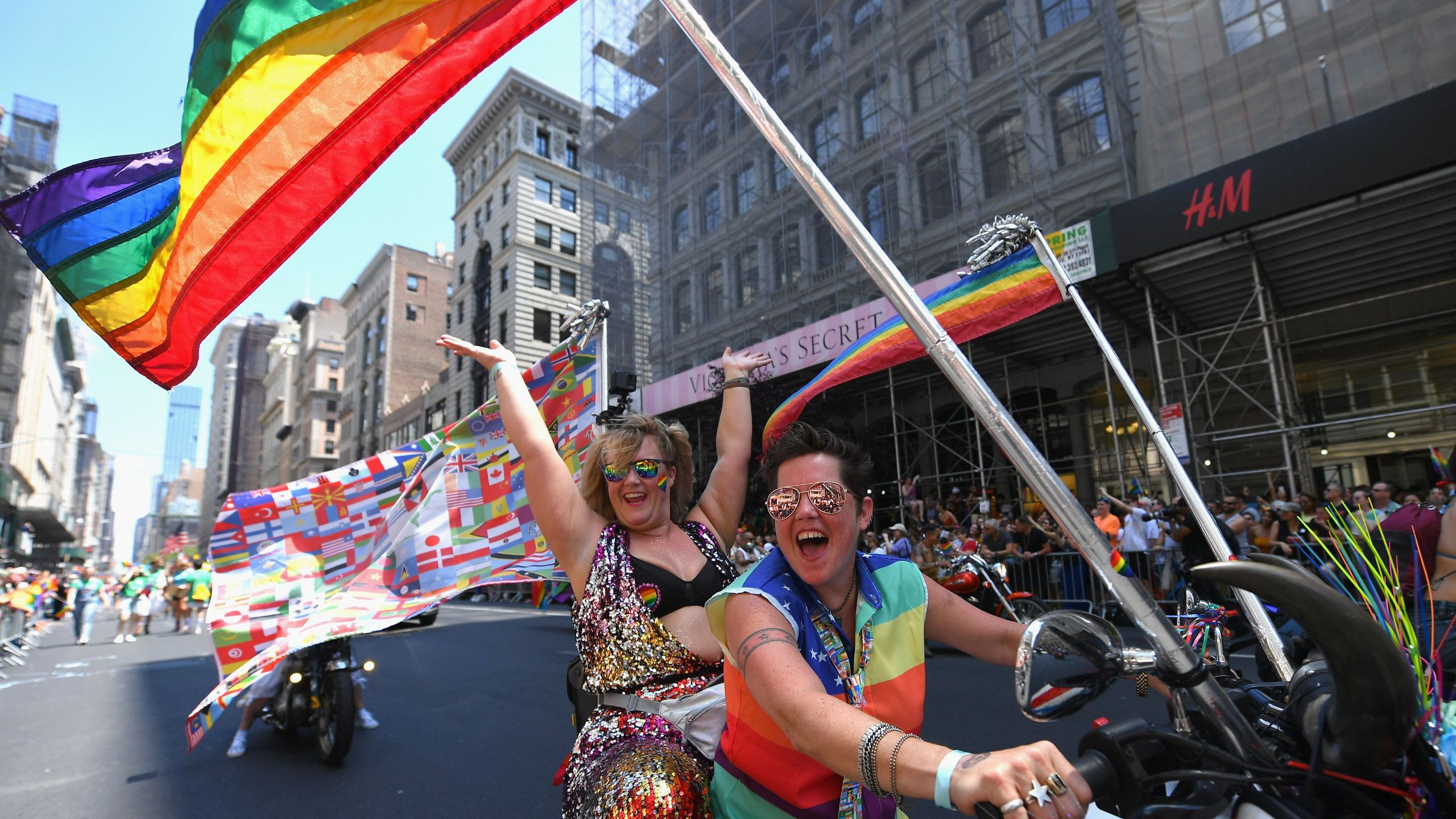 Participants take part in the NYC Pride March as part of World Pride commemorating the 50th Anniversary of the Stonewall Uprising on June 30, 2019, in New York City. (Credit: ANGELA WEISS / AFP/ Getty Images)
