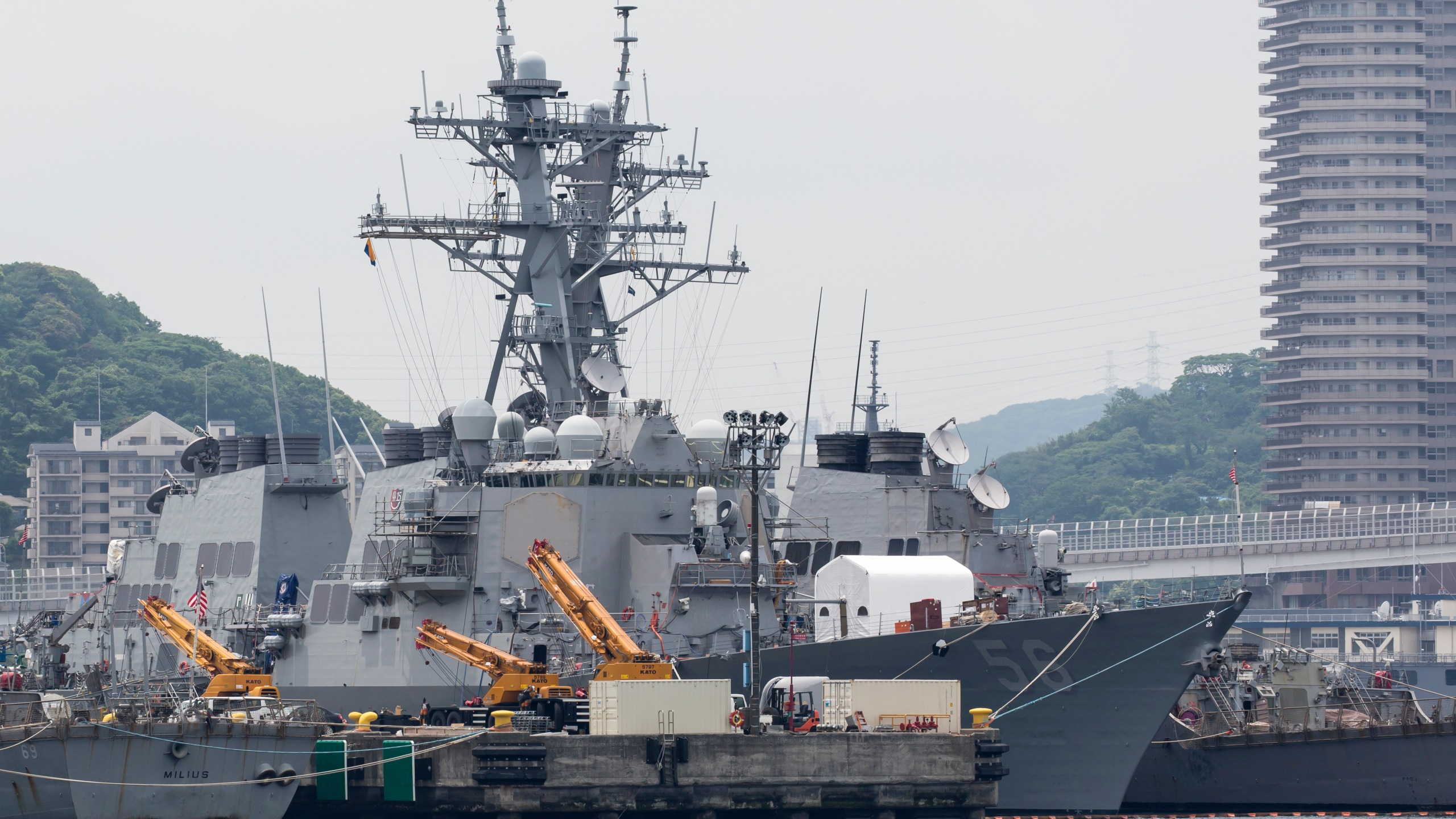 The USS John S. McCain is moored in a dock at the Yokosuka Naval Base on June 1, 2019 in Yokosuka, Japan. (Credit: Tomohiro Ohsumi/Getty Images)