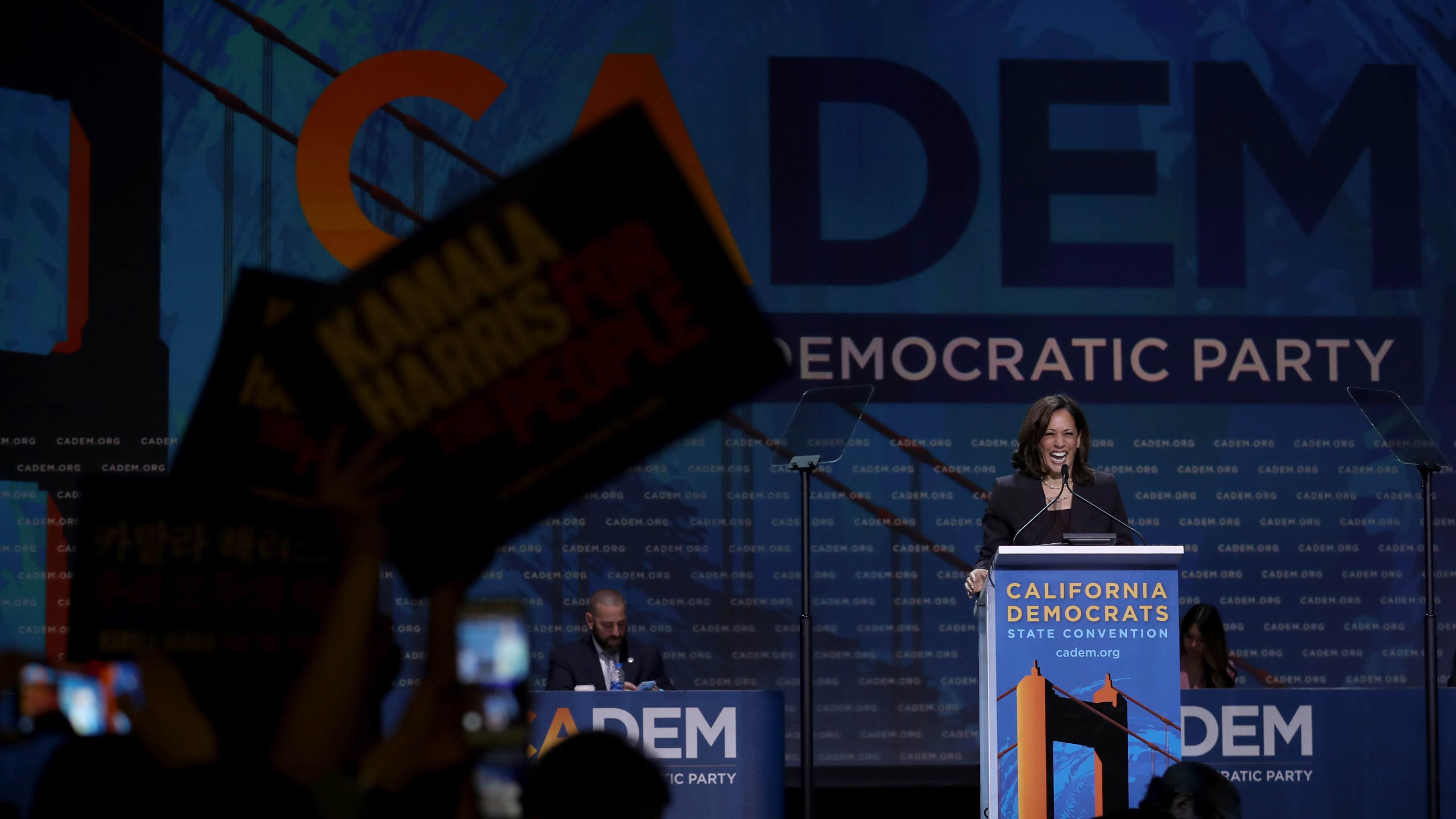 Democratic presidential hopeful U.S. Sen. Kamala Harris (D-CA) speaks during the California Democrats 2019 State Convention at the Moscone Center on June 1, 2019 in San Francisco. (Credit: Justin Sullivan/Getty Images)