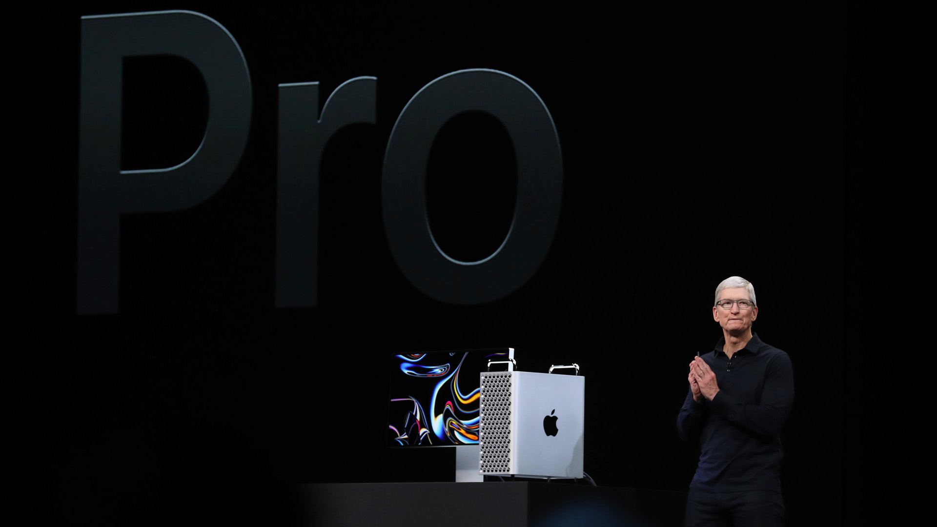 Apple CEO Tim Cook announces the new Mac Pro as he delivers the keynote address during the 2019 Apple Worldwide Developer Conference (WWDC) in San Jose Convention Center on June 3, 2019. (Credit: Justin Sullivan/Getty Images)