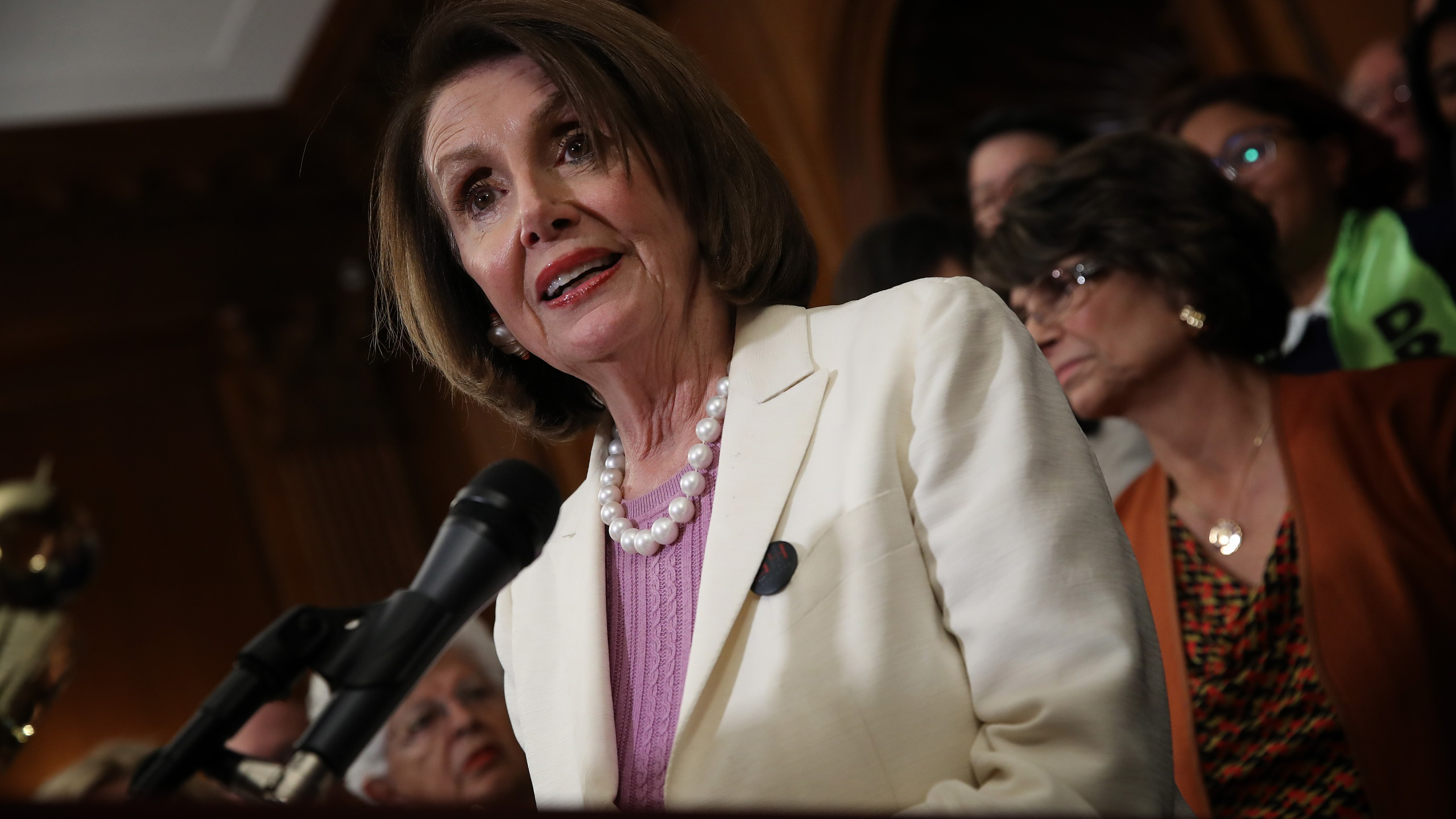 U.S. Speaker of the House Nancy Pelosi speaks during a press conference with House Democrats at the U.S. Capitol June 4, 2019 in Washington, DC. (Credit: Win McNamee/Getty Images)