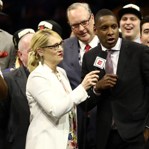 Masai Ujiri is interviewed after his team's victory over the Golden State Warriors in the 2019 NBA Finals at Oracle Arena on June 13, 2019 in Oakland. (Credit: Ezra Shaw/Getty Images)